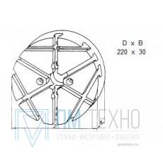 Плита Круглая d 220х 30 с радиально-поперечным расположением Т-образных пазов 12мм (ДСП-7) (восстановленная)