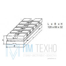 Плита Прямоугольная 120х 60х32 с Т-образными пазами 8мм (В-9470) (восстановленная)