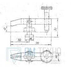 Прижим-качалка  70х 30х 10 с прорезью и квадратным концом стержня (ДСПМ8-07)